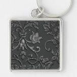 Prägeartiger metallischer Damast, Zinn Silberfarbener Quadratischer Schlüsselanhänger