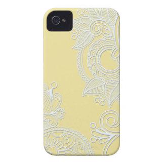Prägeartiges Paisley - Gelb iPhone 4 Etuis