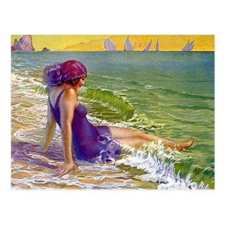 Prallplatten-Mädchen am Postkarte