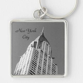 Prämie Keychain Chrysler-Gebäude-NYC Silberfarbener Quadratischer Schlüsselanhänger