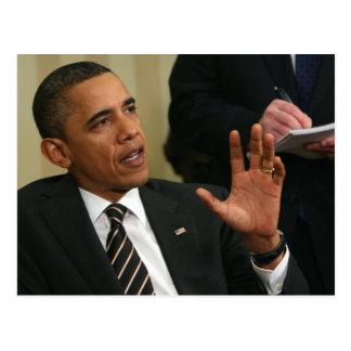 Präsident Barack Obama spricht mit der Presse Postkarten