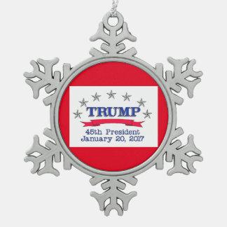 Präsident des Trumpf-45. Schneeflocken Zinn-Ornament