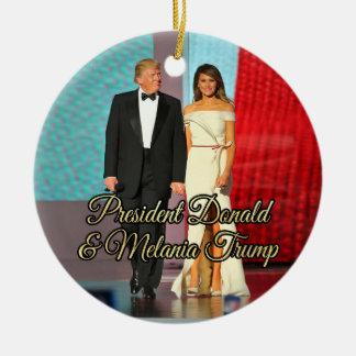 Präsident Donald Trump u. Melania-Foto Keramik Ornament