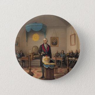 Präsident George Washington als Vorlagenmaurer Runder Button 5,1 Cm