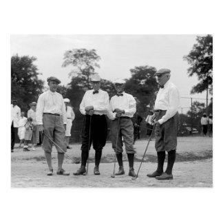 Präsident Harding Golf Foursome Zwanzigerjahre Postkarte