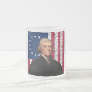 Präsident Jefferson und die amerikanische Flagge Matte Glastasse