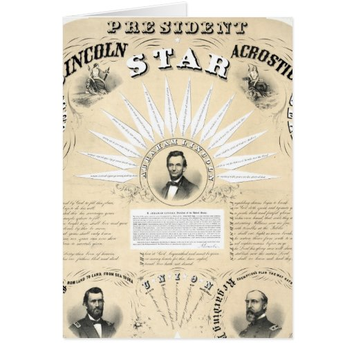 Präsident Lincoln Acrostic Star 1864 Karte