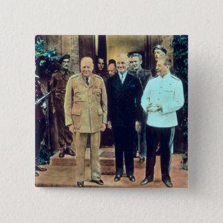 Präsident Truman und Josef Stalin Quadratischer Button 5,1 Cm