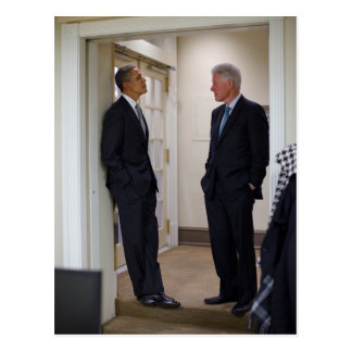Präsidenten Barack Obama u. Bill Clinton Postkarte