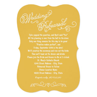 Praxis des Hochzeits-Proben-Abendessen-| macht 12,7 X 17,8 Cm Einladungskarte
