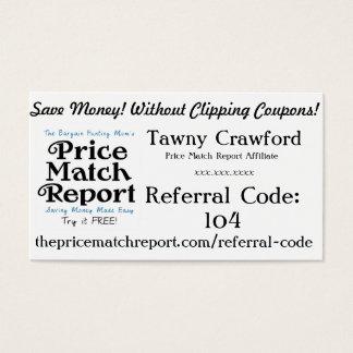 Preis-Match-Berichts-Teilnehmer-Karten - Visitenkarten