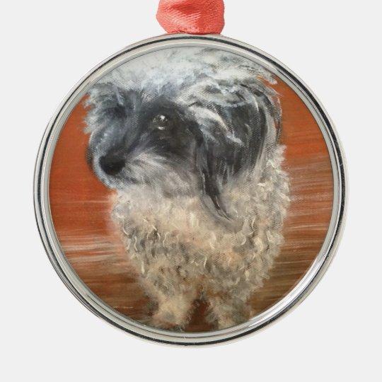 "Premium Rund-Ornament""Portrait Hund"" Rundes Silberfarbenes Ornament"