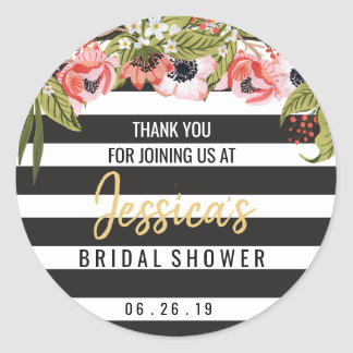 Preppy Bridal Shower Favor Round Sticker