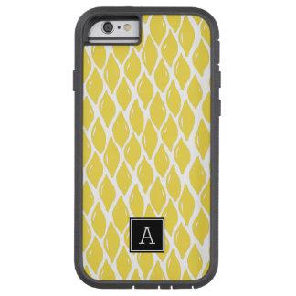 Preppy gelbes Zitronen-Schwarz-Monogramm Tough Xtreme iPhone 6 Hülle