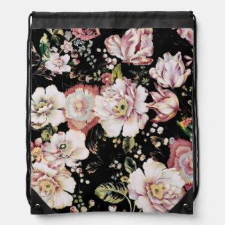 preppy girly Vintages schwarzes Blumen des Shabby Turnbeutel
