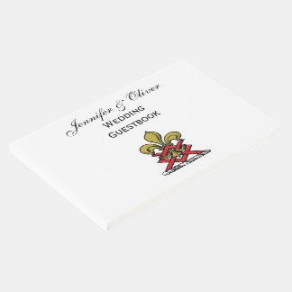 Preppy Goldrotes heraldisches Wappen-Lilien-Emblem Gästebuch
