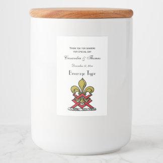 Preppy Goldrotes heraldisches Wappen-Lilien-Emblem Lebensmitteletikett