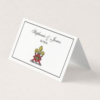 Preppy Goldrotes heraldisches Wappen-Lilien-Emblem Platzkarte