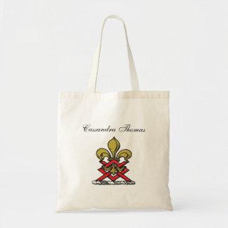 Preppy Goldrotes heraldisches Wappen-Lilien-Emblem Tragetasche