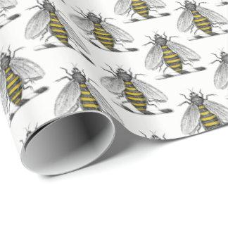 Preppy heraldisches Vintages Bienen-Wappen Emblem Geschenkpapier