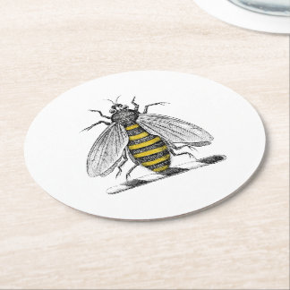 Preppy heraldisches Vintages Bienen-Wappen Emblem Runder Pappuntersetzer