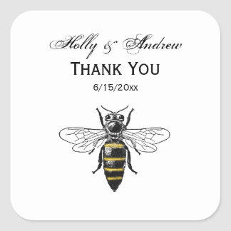 Preppy heraldisches Vintages Wappen der Bienen-#2 Quadratischer Aufkleber