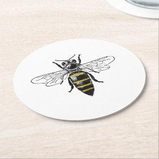 Preppy heraldisches Vintages Wappen der Bienen-#2 Runder Pappuntersetzer
