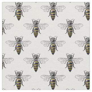 Preppy heraldisches Vintages Wappen der Bienen-#2 Stoff
