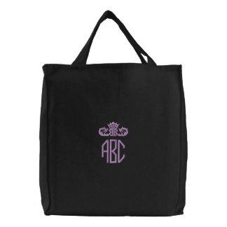 Preppy lila Monogramm mit Krone gestickter Tasche