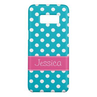 Preppy rosa und aquamarine blaue Polka-Punkte Case-Mate Samsung Galaxy S8 Hülle