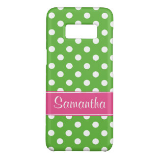 Preppy rosa und grüne Polka-Punkte personalisiert Case-Mate Samsung Galaxy S8 Hülle