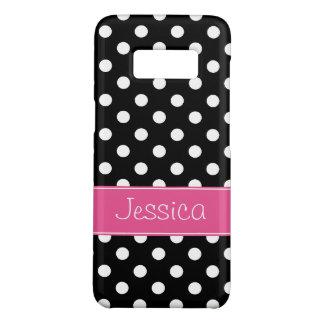 Preppy rosa und schwarze Polka-Punkte Case-Mate Samsung Galaxy S8 Hülle