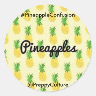 @PreppyCulture Ananas-Aufkleber Runder Aufkleber