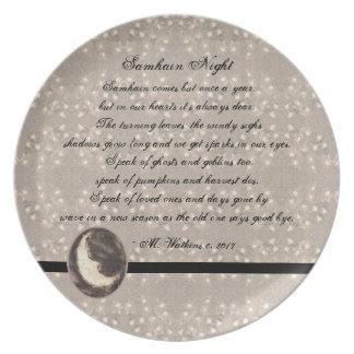 Prim Mond und Sterne Samhain Vorlagen-Poesie Teller