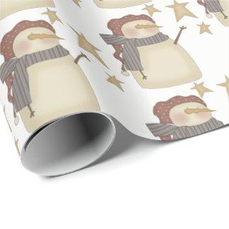 Prim Weihnachtssnowman hat Party mit Ziegeln Geschenkpapier