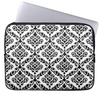 Prima Damast großes Ptn Schwarzes auf Weiß Laptop Sleeve