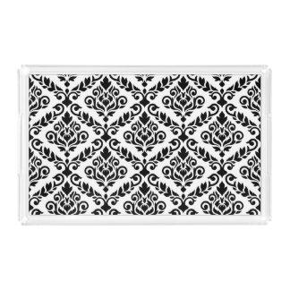 Prima Damast-Muster-Schwarzes auf Weiß Acryl Tablett