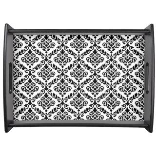 Prima Damast-Muster-Schwarzes auf Weiß Tablett