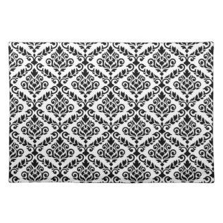 Prima Damast-Muster-Schwarzes auf Weiß Tischset