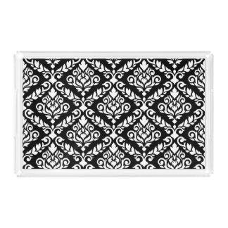 Prima Damast-Muster-Weiß auf Schwarzem Acryl Tablett