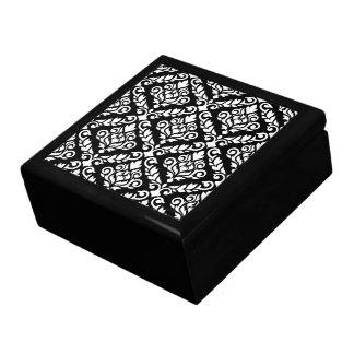 Prima Damast-Muster-Weiß auf Schwarzem Erinnerungskiste