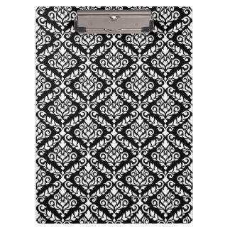 Prima Damast-Muster-Weiß auf Schwarzem Klemmbrett