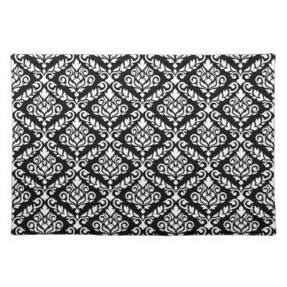 Prima Damast-Muster-Weiß auf Schwarzem Stofftischset