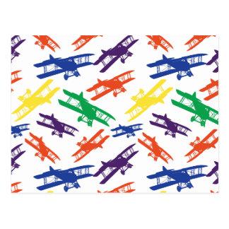 PrimärfarbVintages Doppeldecker-Flugzeug-Muster Postkarte
