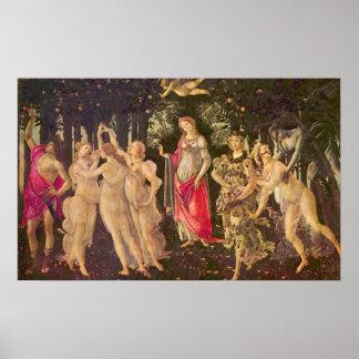 Primavera durch Botticelli, antike Poster