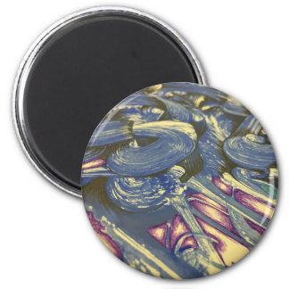 Printmaking Magie in den Blues und in den Purpur Runder Magnet 5,1 Cm