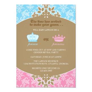 Prinz oder Prinzessin Damask Gender Reveal Party 12,7 X 17,8 Cm Einladungskarte