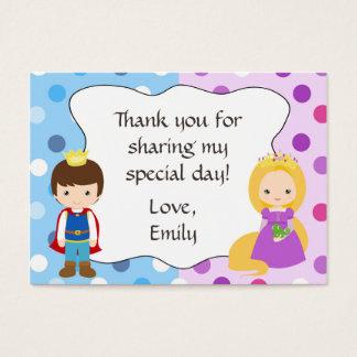 Prinz Prinzessin Gift Favor Tag danken Ihnen zu Visitenkarte