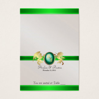 Prinz u. Prinzessin Green Jewel Table Placecard Visitenkarte