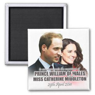Prinz William u. Kate königlicher Hochzeits-Magnet Quadratischer Magnet